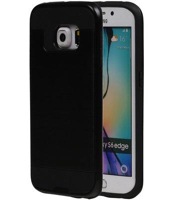 Zwart BestCases Tough Armor TPU back cover voor Hoesje voor Samsung Galaxy S6 Edge
