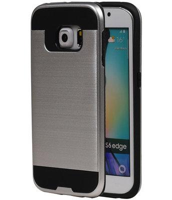 Zilver BestCases Tough Armor TPU back cover voor Hoesje voor Samsung Galaxy S6 Edge