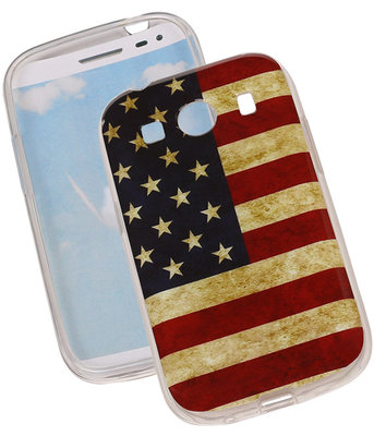 Amerikaanse Vlag TPU Cover Case voor Hoesje voor Samsung Galaxy Ace Style G357