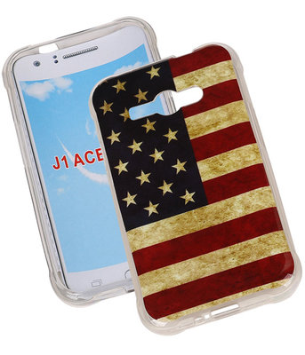 Amerikaanse Vlag TPU Cover Case voor Samsung Galaxy J1 Ace Hoesje