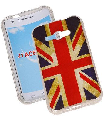 Britse Vlag TPU Cover Case voor Hoesje voor Samsung Galaxy J1 Ace
