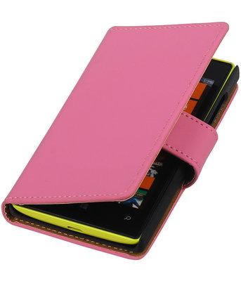 Roze Effen booktype cover voor Hoesje voor Microsoft Lumia 532