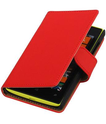 Rood Effen booktype cover voor Hoesje voor Microsoft Lumia 532