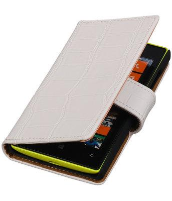 Wit Krokodil booktype cover voor Hoesje voor Microsoft Lumia 532