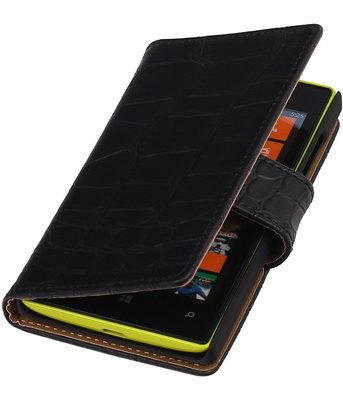 Zwart Krokodil booktype cover voor Hoesje voor Microsoft Lumia 532