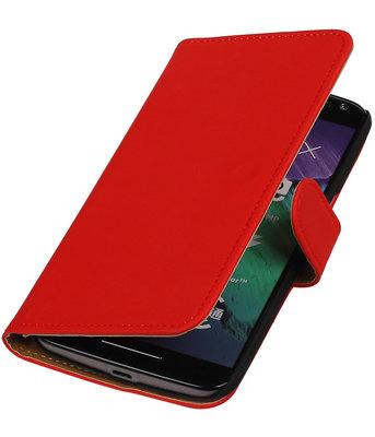 Rood Effen booktype cover voor Hoesje voor Motorola Moto X Style
