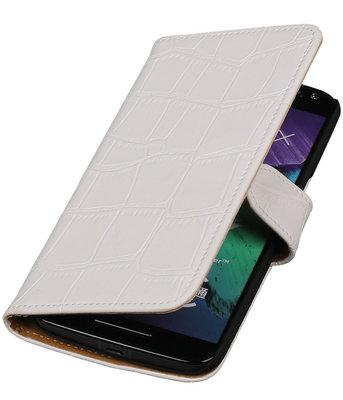 Wit Krokodil booktype cover voor Hoesje voor Motorola Moto X Style