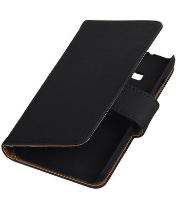 Zwart Effen booktype cover voor Hoesje voor Samsung Z1 Z130