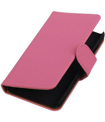 Roze Effen booktype cover voor Hoesje voor Samsung Z1 Z130
