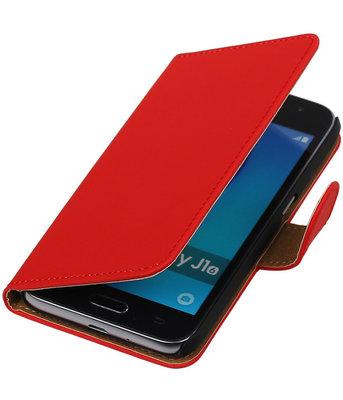 Rood Effen booktype cover voor Hoesje voor Samsung Galaxy J1 (2016)