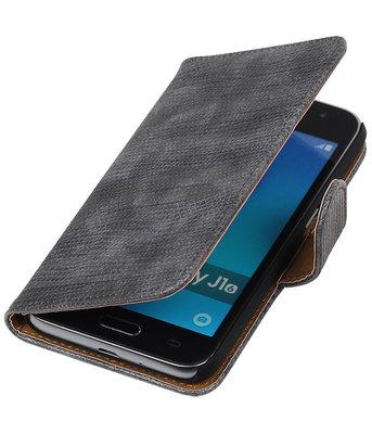 Grijs Mini Slang booktype cover voor Hoesje voor Samsung Galaxy J1 (2016)