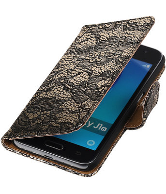 Zwart Lace booktype cover voor Hoesje voor Samsung Galaxy J1 (2016)