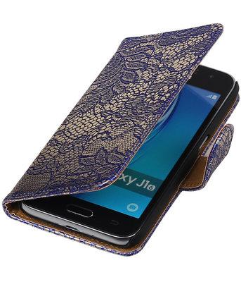 Blauw Lace booktype cover voor Hoesje voor Samsung Galaxy J1 (2016)
