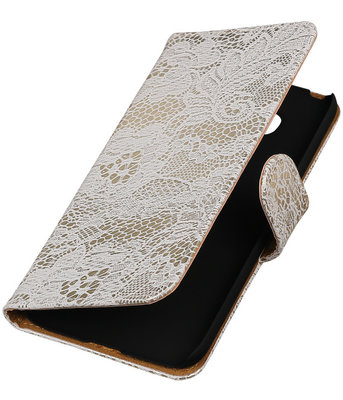 Wit Lace booktype cover voor Hoesje voor LG G5
