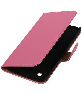 Roze Effen booktype cover hoesje voor LG K7