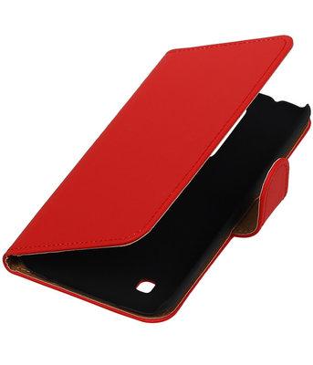 Rood Effen booktype cover hoesje voor LG K7