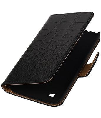 Zwart Krokodil booktype cover voor Hoesje voor LG K7