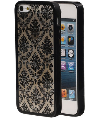 Zwart Brocant TPU back case cover hoesje voor Apple iPhone 5 / 5s