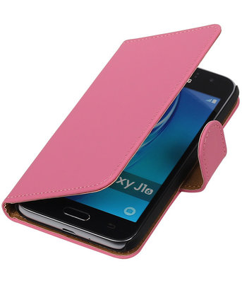Roze Effen booktype cover voor Hoesje voor Samsung Galaxy J1 Nxt / J1 Mini
