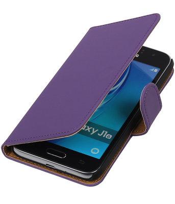 Paars Effen booktype cover voor Hoesje voor Samsung Galaxy J1 Nxt / J1 Mini