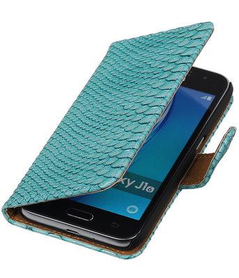 Turquoise Slang booktype cover voor Hoesje voor Samsung Galaxy J1 Nxt / J1 Mini