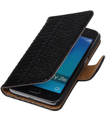 Zwart Slang booktype cover voor Hoesje voor Samsung Galaxy J1 Nxt / J1 Mini