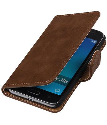 Bruin Hout booktype cover voor Hoesje voor Samsung Galaxy J1 Nxt / J1 Mini