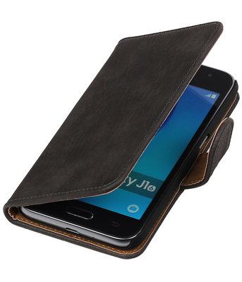 Grijs Hout booktype cover voor Hoesje voor Samsung Galaxy J1 Nxt / J1 Mini