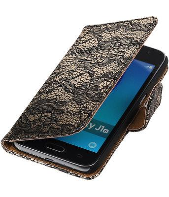 Zwart Lace booktype cover voor Hoesje voor Samsung Galaxy J1 Nxt / J1 Mini