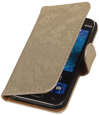 Goud Lace booktype cover hoesje voor Samsung Galaxy J1 Nxt / J1 Mini