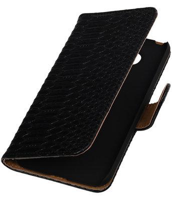 Zwart Slang booktype cover hoesje voor Huawei P8 Lite