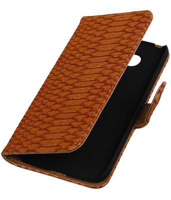 Bruin Slang booktype cover hoesje voor Huawei P8 Lite