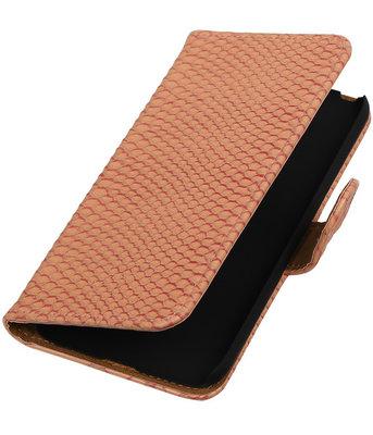 Roze Slang booktype cover hoesje voor Huawei P8 Lite