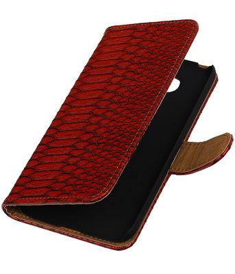 Rood Slang booktype cover hoesje voor Huawei P8 Lite