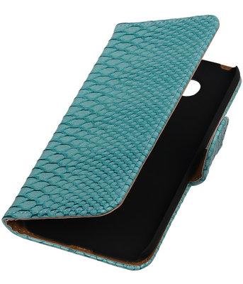 Turquoise Slang booktype cover hoesje voor Huawei P8 Lite
