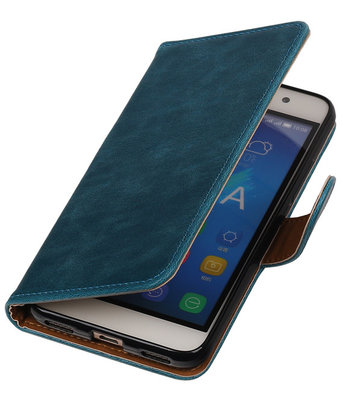 Blauw Pull-Up PU booktype wallet cover hoesje voor Samsung Galaxy S5 Mini