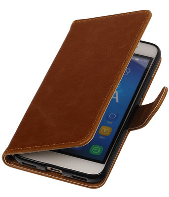 Bruin Pull-Up PU booktype wallet cover hoesje voor Samsung Galaxy S5 Mini