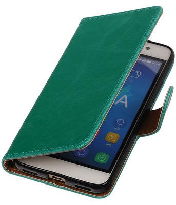 Groen Pull-Up PU booktype wallet cover voor Hoesje voor Samsung Galaxy S5 Mini