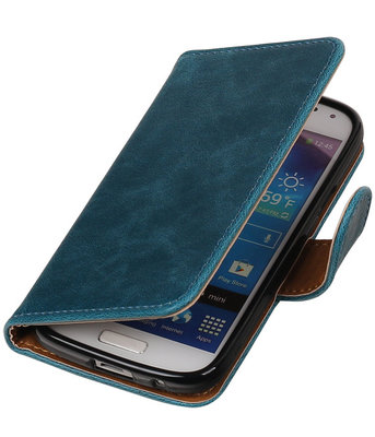 Rood Pull-Up PU booktype wallet cover hoesje voor Samsung Galaxy S4 Mini
