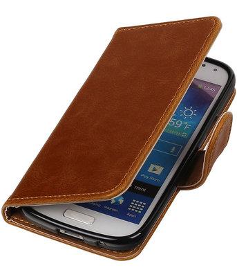 Bruin Pull-Up PU booktype wallet cover voor Hoesje voor Samsung Galaxy S4 Mini