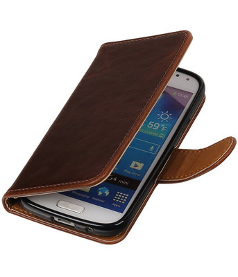 Mocca Pull-Up PU booktype wallet cover voor Hoesje voor Samsung Galaxy S4 Mini
