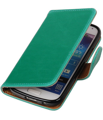 Groen Pull-Up PU booktype wallet cover voor Hoesje voor Samsung Galaxy S4 Mini