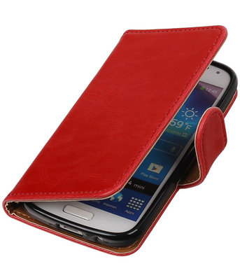 Rood Pull-Up PU booktype wallet cover voor Hoesje voor Samsung Galaxy S4 Mini