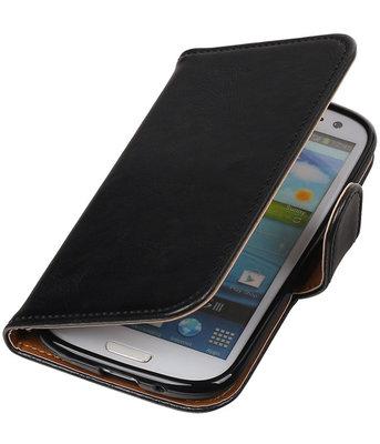 Zwart Pull-Up PU booktype wallet cover hoesje voor Samsung Galaxy S3