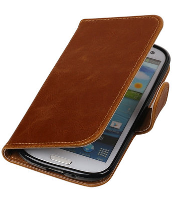 Bruin Pull-Up PU booktype wallet cover hoesje voor Samsung Galaxy S3