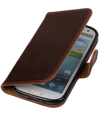 Mocca Pull-Up PU booktype wallet cover hoesje voor Samsung Galaxy S3