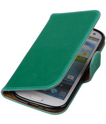 Groen Pull-Up PU booktype wallet cover voor Hoesje voor Samsung Galaxy S3