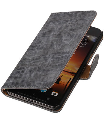 Grijs Mini Slang booktype cover hoesje voor HTC One X9