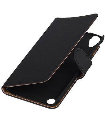 Zwart Effen booktype cover voor Hoesje voor HTC Desire 530