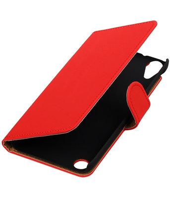 Rood Effen booktype cover voor Hoesje voor HTC Desire 530